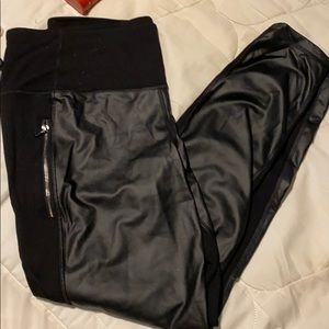 Faux leather front leggings